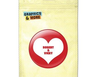 Red Heart Love Wedding Bridal Valentines 2.25 Inch Personalized Custom Kitchen Refrigerator Locker Button Magnet