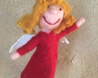 Funny Angels hand felted felt figure mobile organic Merino Wool