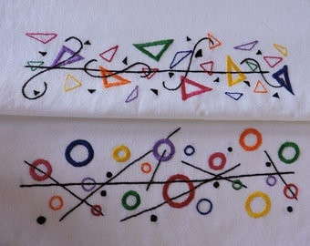 2 Geometric Fun Borders, Circles Hand Embroidery Pattern AND Triangles Hand Embroidery Pattern, Rainbow Colors Embroidery Pattern