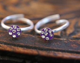 Diamonte Toe Ring/ Indian Toe Ring/ Handmade Toe Ring/ adjustable Toe rings/ purple Diamonte Toe Ring pair