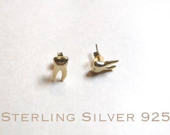 Gold over sterling silver, teeth stud earrings, Dental earrings, Molar earrings, dental gifts, dentist gift, tooth earrings, dental jewelry.