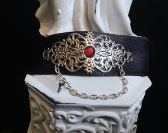Black Choker necklace silver with red stone, victorian gothic, Baroque