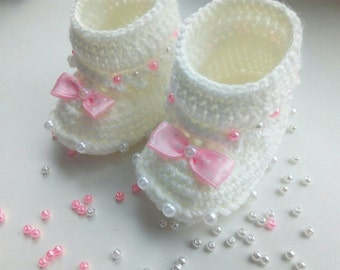 Baby Booties.Baby girl booties.Baby boy botties.Crochet baby booties.Booties for kids.White newborn booties.Newborn baby booties