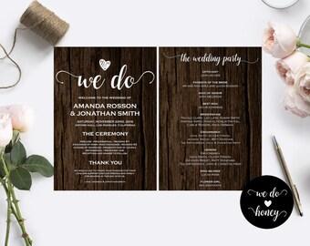 Rustic Wedding Menu Wedding Menu Template - Rustic wedding program template - Rustic Wedding Chic Menu PDF Instant Download #WDH0014
