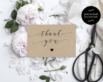 Wedding Thank You Cards - Thank you cards wedding - Kraft Printable - Wedding Thank You Printable - Downloadable wedding #WDH0137