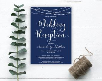 Wedding Reception Invitation - Reception Printable - Wedding Invitation - Editable Template -Navy Blue - Downloadable Wedding #WDH0184