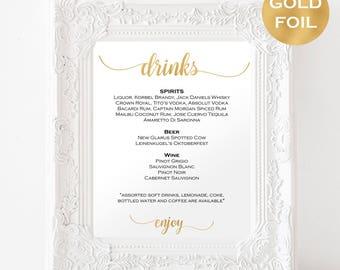 Gold Wedding Sign Bar - Wedding Sign Template - Bar Menu Sign - Editable Drink Sign - Signature Drinks - Downloadable wedding #WDH812247