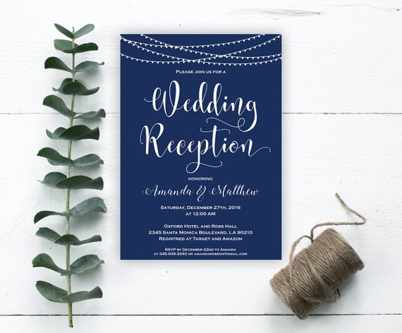 Wedding Reception Invitation - Reception Printable - Wedding Invitation - Editable Template -Navy Blue - Downloadable Wedding #WDH0184