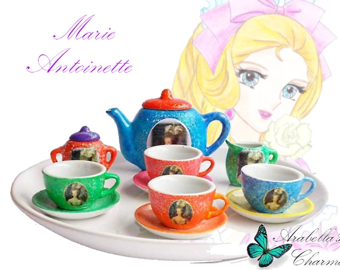 Miniature tea set, made in ceramic hand painted, dedicated to the queen of France Marie Antoinette