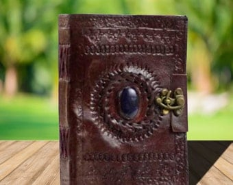Leather Blank Sacred Circle Grimoire~Blank Book of Shadows~Leather Spell Book~Wicca Book of Shadows