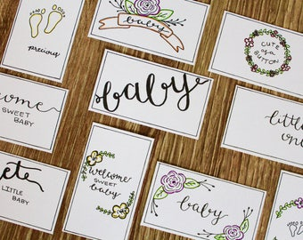 Baby Gift Tag Printable Handwritten Floral Vintage Color Yourself - 10 Count