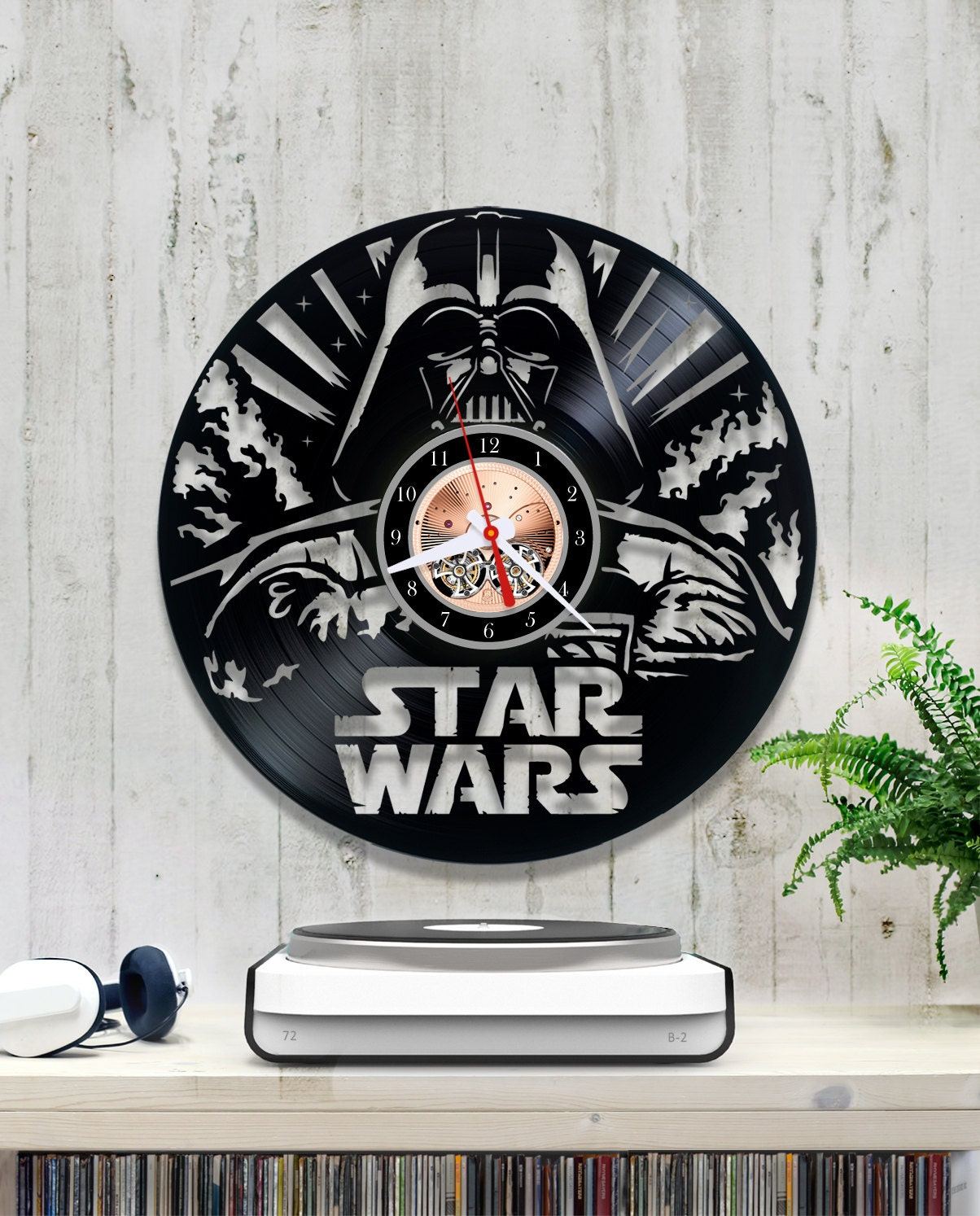 Star Wars Vinyl Clock Darth Vader Wall Clock 1 6 7 Vinyl