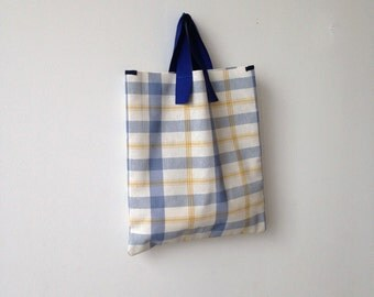 Small cotton tote bag, Yellow plaid fabric hand bag, handmade canvas lunch bag, kids and teens