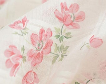Fine Gauze Transparent and Thin Floral Clothing Fabric by the Yard