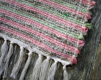 """Posie Patch- Pink, Green, and Brown Woven Rag Rug- 40""""x27"""""""
