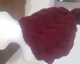 Cable beanie with pompom