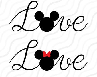 Love Mouse SVG,Love SVG, Disney Valentine, Love Quote SVG Cut table Design,svg,dxf,png Use With Silhouette Studio & Cricut_Instant Download