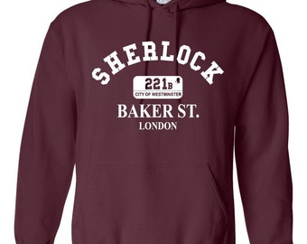 "Funny Inspired Sherlock Holmes ""221b BAKER ST. LONDON"" Unisex Hooded Sweatshirt"