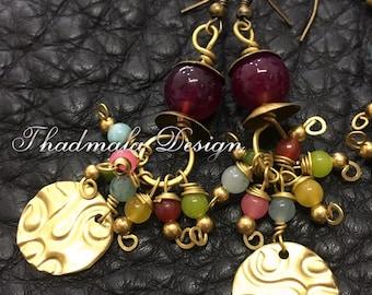 Boho sheet and stone,glass bead earring