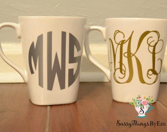 Monogrammed mug-coffee mug-personalized coffee cup-custom mug-wedding gift-custom housewarming gift-bridal gift