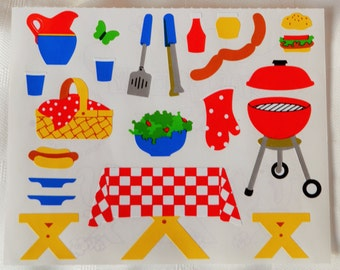 """Vintage Mrs Grossman's """"Picnic and BBQ elements  """" Stickers (1992)"""