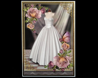 Handmade Vintage Style Wedding Dress Marriage Engagement Congratulations Greeting Card W050