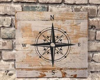 Compass Rose - Nautical - Rustic Wood Sign
