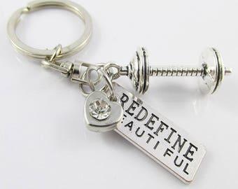 Redefine Beautiful Barbell Charm Keychain Keyring Swivel Bag Tag 83mm