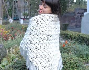 Hand-Crocheted Triangular White Shawl