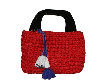 Women bag in silk (with pompom)