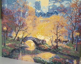 Central Park twilight walk, hand-painted paint by number