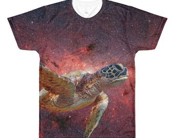 Space Turtle - Men's / Unisex T-Shirt - Animal, Psychedelic Art, Nebula, Stars, Galaxy