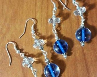 Blue and crystal drop earrings.