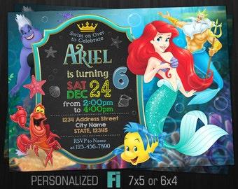 Little Mermaid Invitation, Little Mermaid Birthday Party, Princess Ariel, Disney, Under the Sea, Personalized, Printable, Digital File