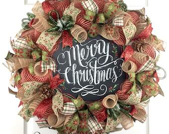 Christmas Mesh Wreath / Winter Mesh Wreath / Merry Christmas Mesh Wreath / Holiday Mesh Wreath / Primitive Christmas Mesh Wreath