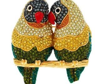Joan Rivers Vintage Rhintone Swarovski Lovebirds Brooch, Pin, Parrots, Birds