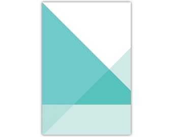 Abstract Art, Blue Canvas Print, Triangles, Geometric Wall Decor, Minimalist, Modern
