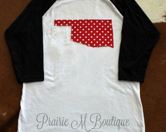 Be Okie Red! Oklahoma Shirt-White/Black Baseball Raglan shirt with Red/White Polka Dot Fabric