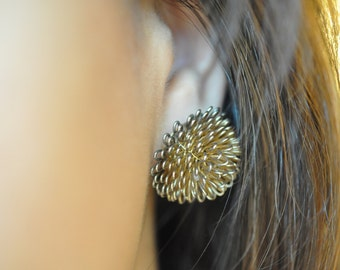 Vintage Silver-Toned Puff Earrings