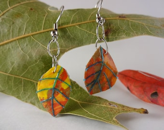 Paper Leaf Earrings Fall Colors First Anniversary Gift