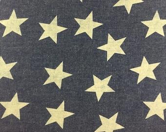 Denim, blue, yellow star 7899