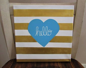 Hello Striped Painting 12 x 12