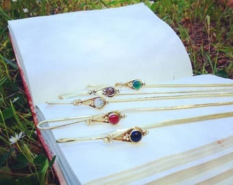 Bookmark - Brass Book Marker - Natural Stones BookMark - Book Accesory