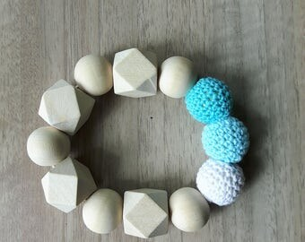 Teether with wooden beads