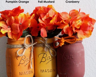 Fall Mason Jars - Painted Mason Jars - Halloween - Rustic Home Decor - Fall Decor