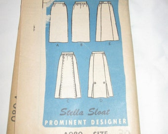 Vintage Sewing Pattern Stella Sloat Designer Size 30 Pattern #A980 Uncut 5 Skirt Styles Mail Order Pattern
