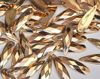 200pcs Sewing Gold Color Drop Shape Rhinestones Sew On Acrylic Fancy Flatback Strass Stones 8*28mm