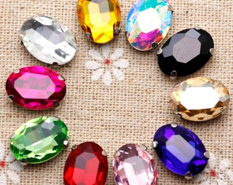 50pcs 10*14mm Crystal Mix Color Oval Sew On Rhinestone With Claw mix color