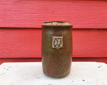 Copper Corked Jar with Attached Clay Twin Tree Stamp