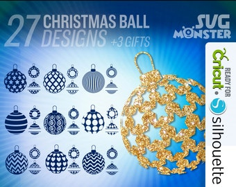 CHRISTMAS SVG BALL svg • Cut Files for Electronic Vinyl Cutter • png • Cricut Design Space, Silhouette Xmas Decoration • 032